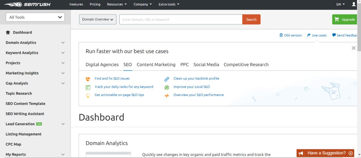 أدوات تحليل تنافسي لموقع الويب SEMrush