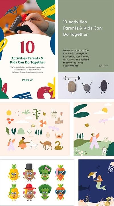 أنشطة للأطفال من خلال التصميم والرسم على Over App