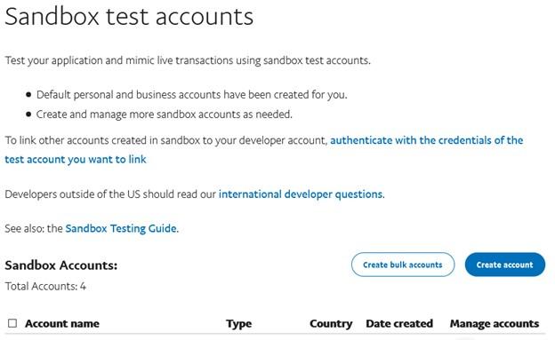 إنشاء حساب  ستاندرد Sandbox