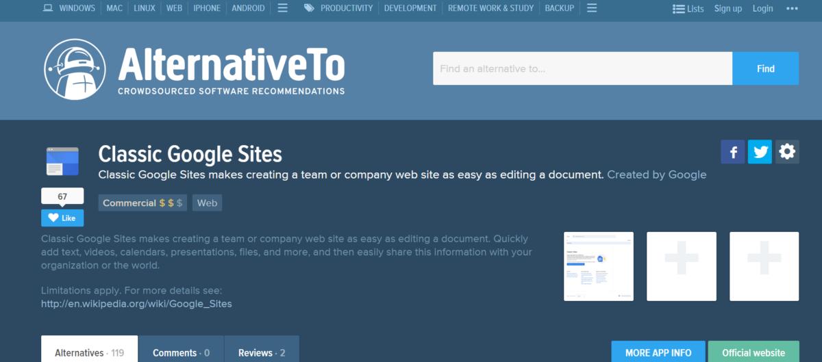 تحليل تنافسي لموقع الويب Alternativeto