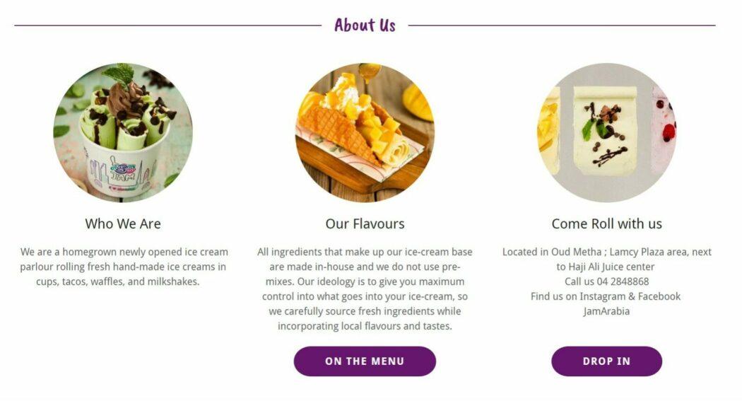 موقع الشركة Jam rolled icecream