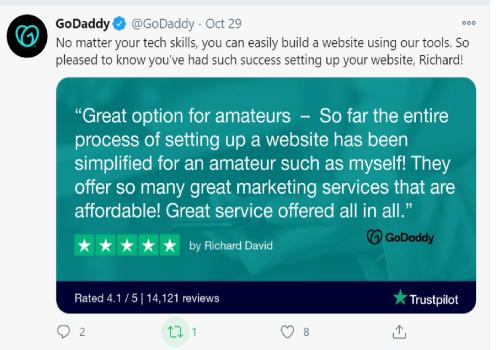استخدام تويتر للأعمال GoDaddy واعادة التغريد بنجاح