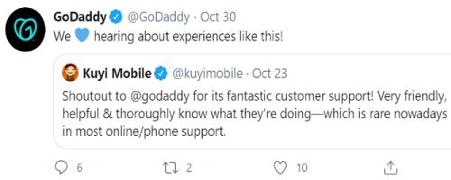 استخدام تويتر للأعمال GoDaddy واعادة التغريد مع التعليق