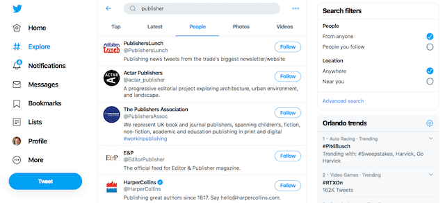 البحث في تويتر لزيادة المتابعين