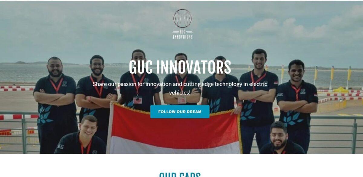 الصفحة الرئيسية لموقع GUC Innovators
