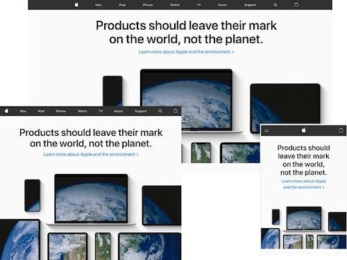 تصميم موقع أبل متوافق مع أجهزة