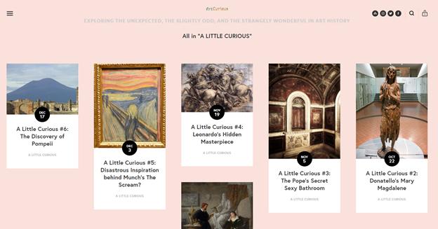 يتيح لك ArtCurious تصفية الحلقات حسب الفئة للعثور على المحتوى الذي يهمك