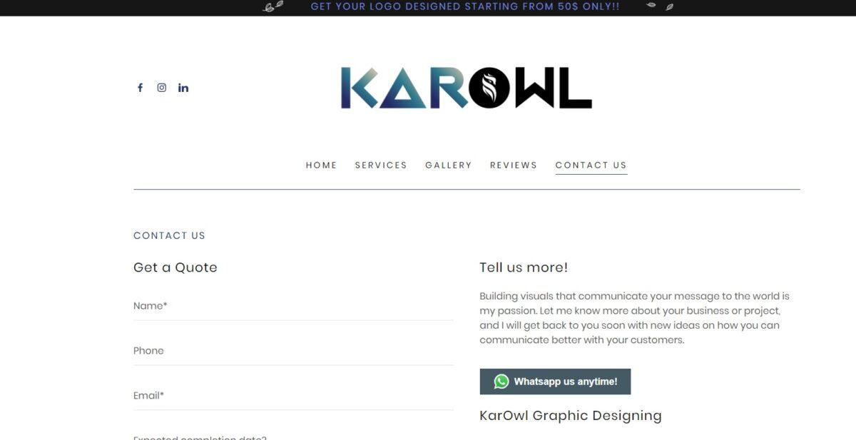 karowl.com موقع إلكتروني تواصل معنا